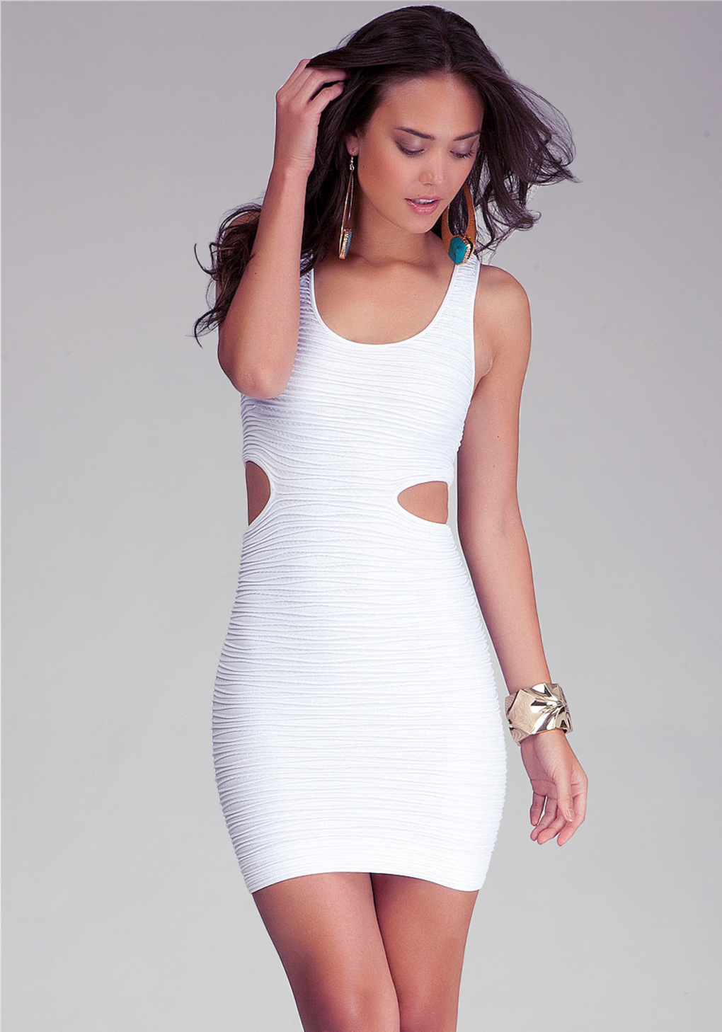 Bebe Side Cutout Bodycon Tank Dress In White Lyst