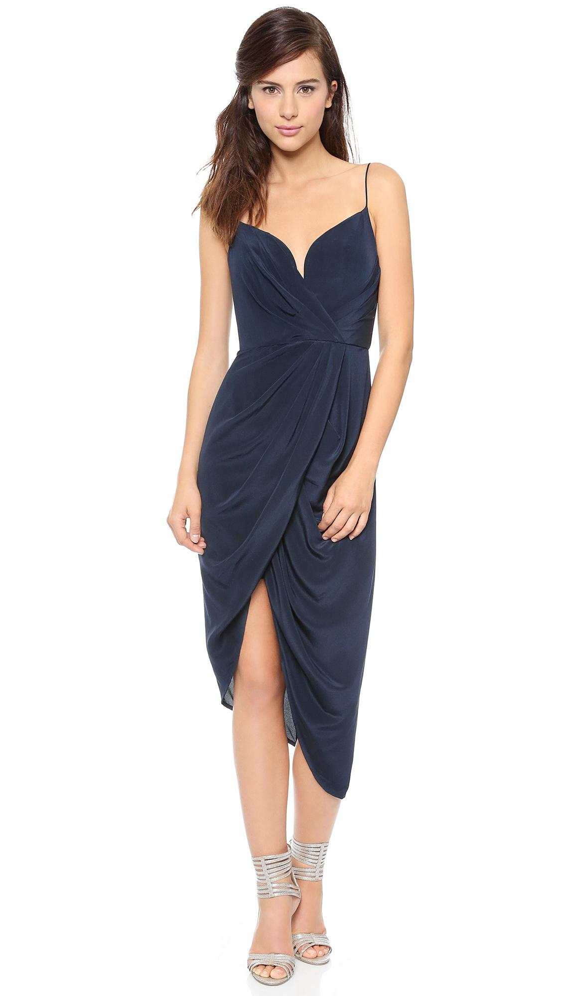 Lyst Zimmermann Faux Wrap Silk Dress In Blue