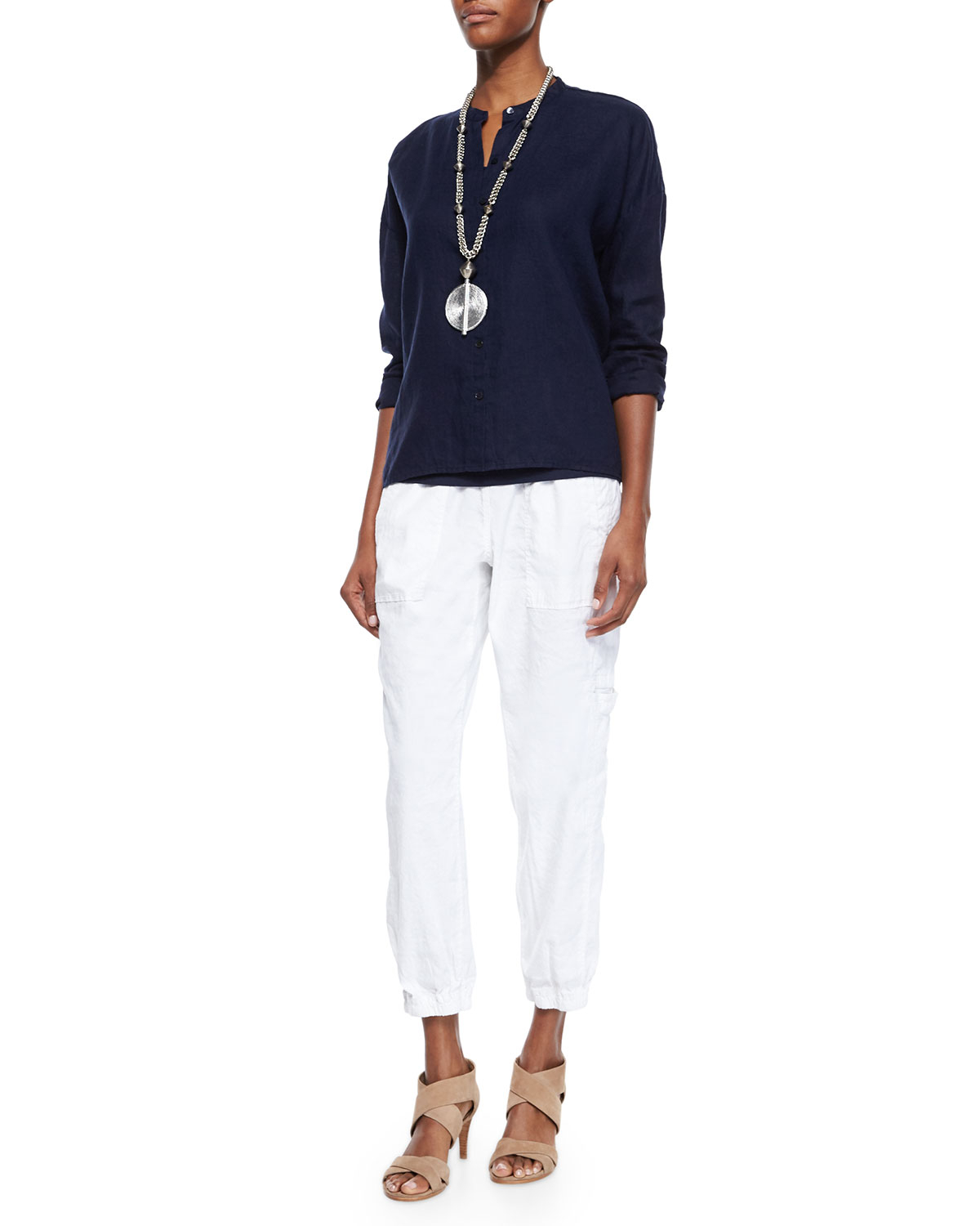 Eileen Fisher Linen Blend Cargo Ankle Pants In White Lyst