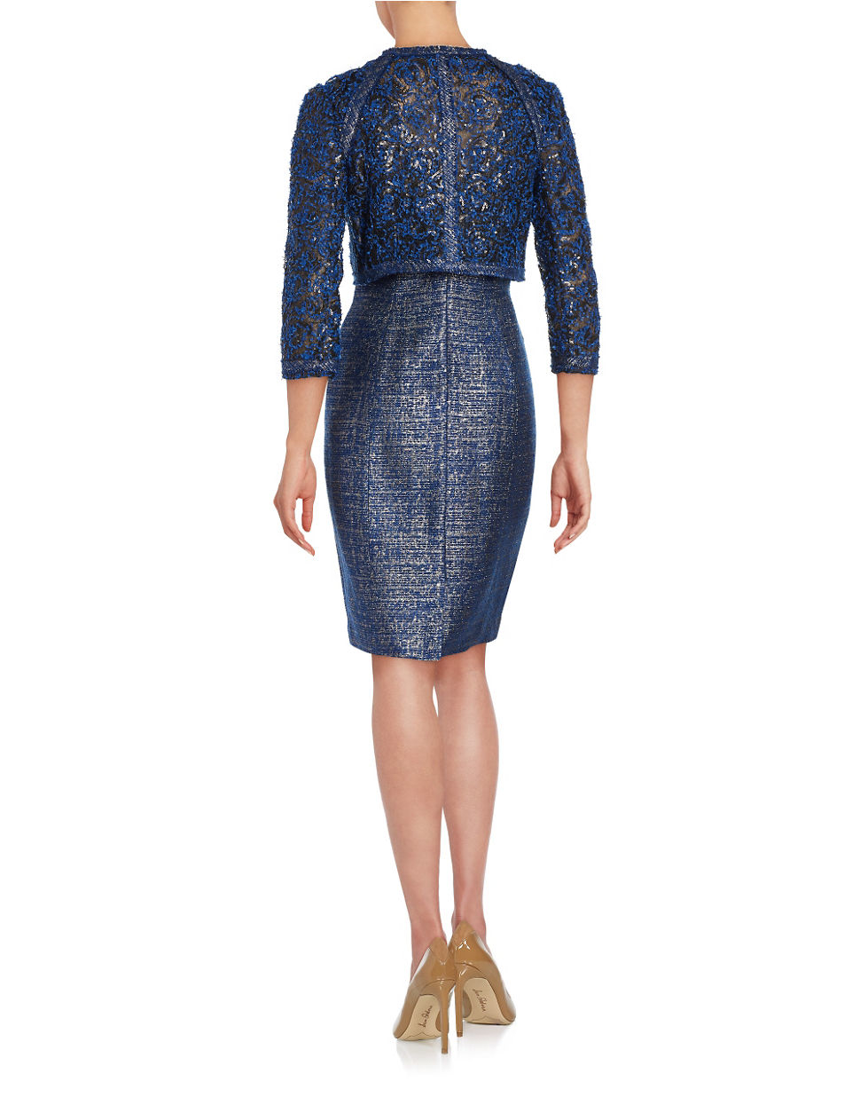 Kay unger Sparkling Sheath Dress And Jacket Set in Blue | Lyst