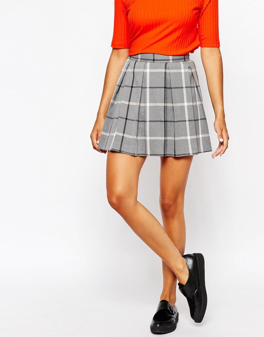 30b435d429 Monki Pleated Check Mini Skirt in Gray - Lyst