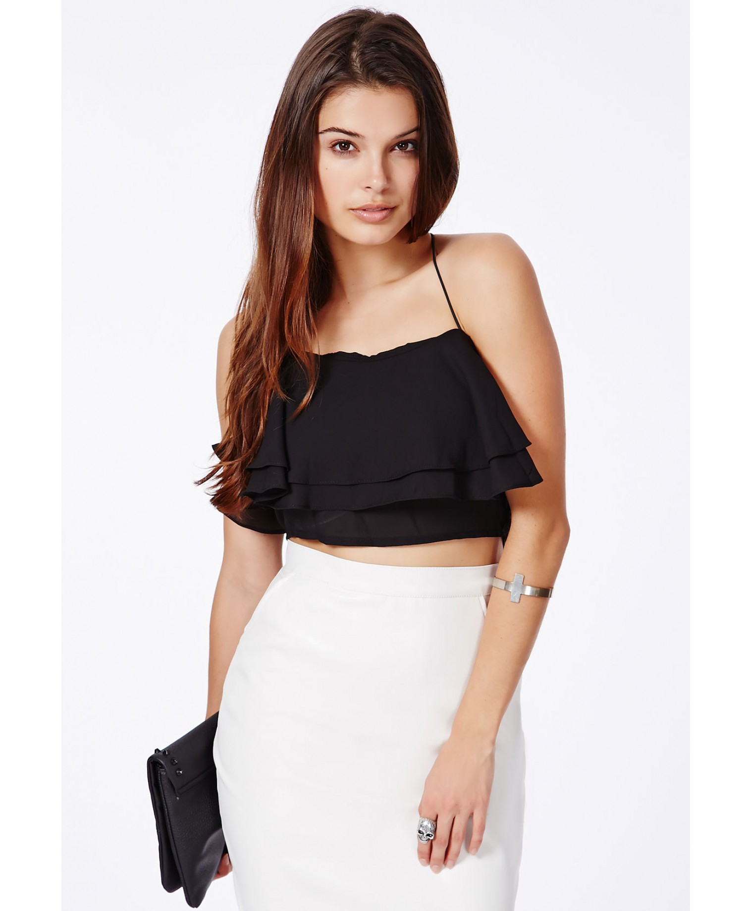 Missguided Lexie Crossover Spaghetti Strap Frill Bandeau ...