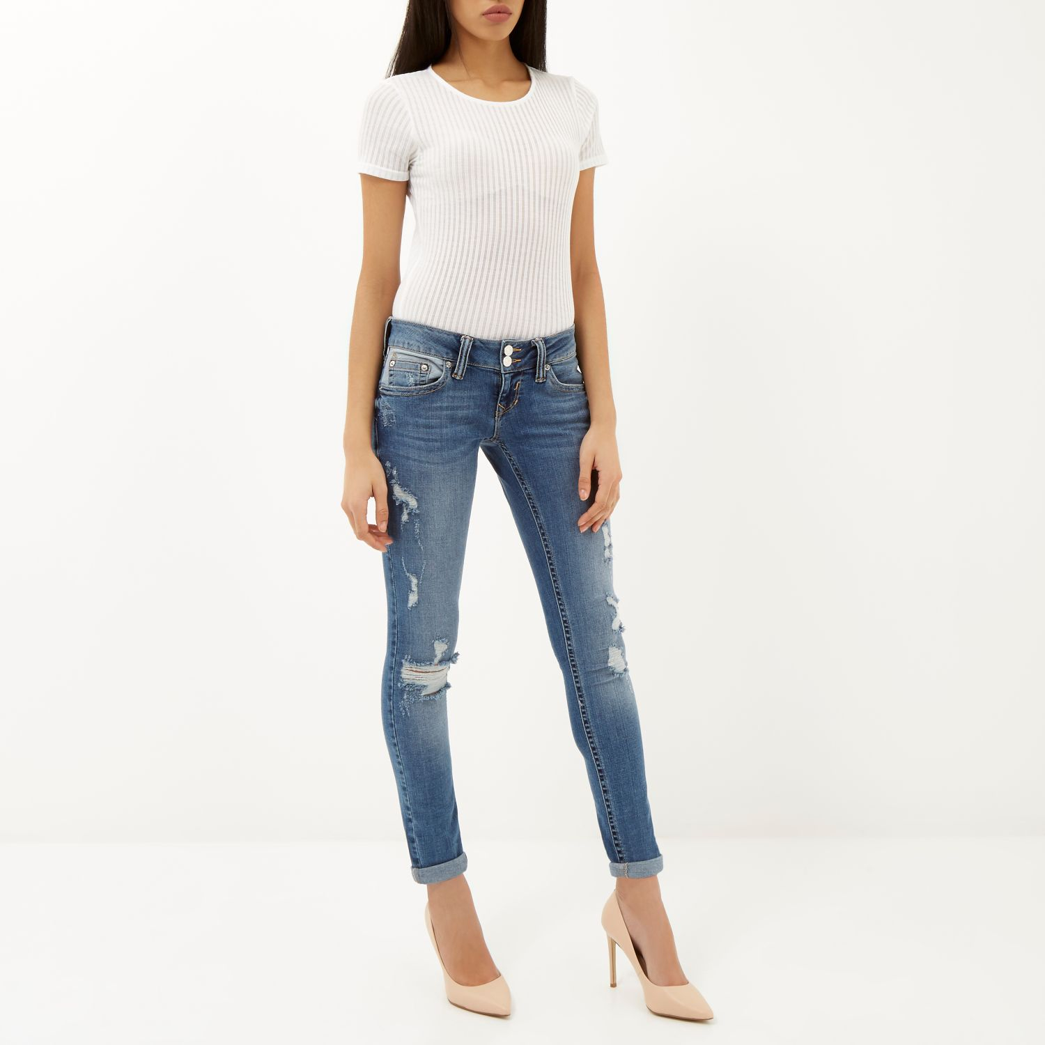River Island Mid Wash Distressed Matilda Skinny Jeans In