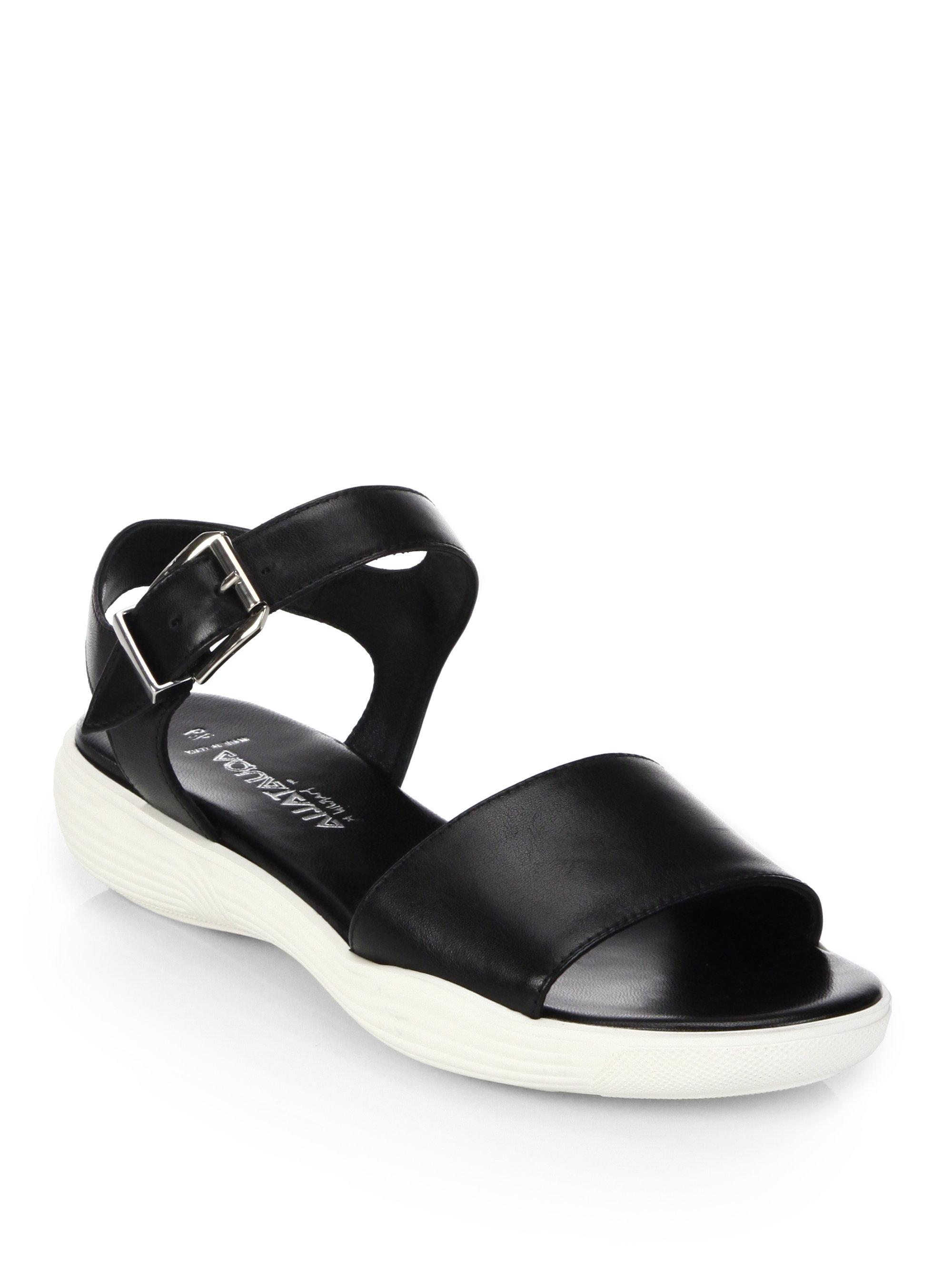 Aquatalia Ravish Leather Wedge Sandals In Black Lyst