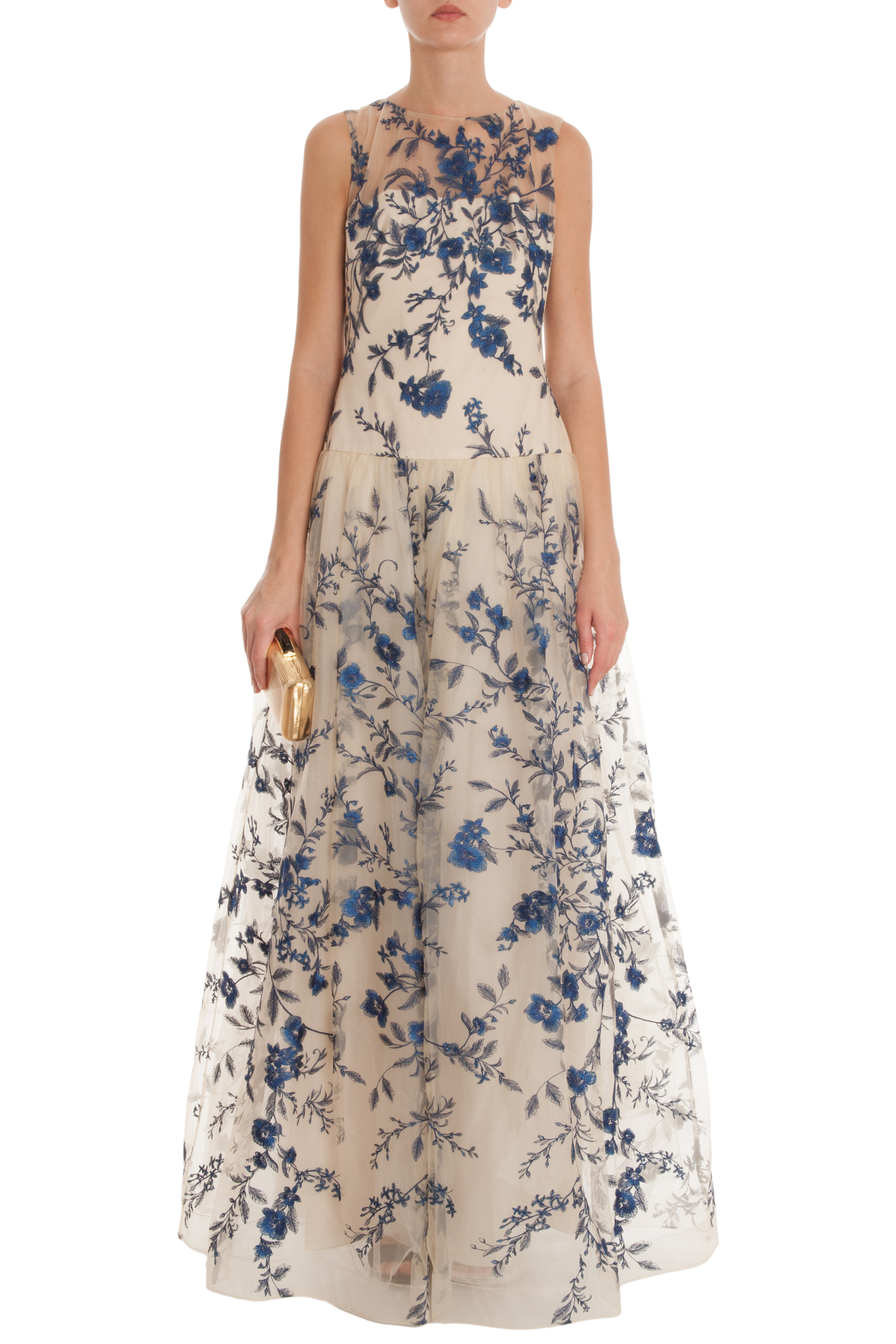 f1303b05bed Notte by Marchesa Blue Floral Embroidered Gown