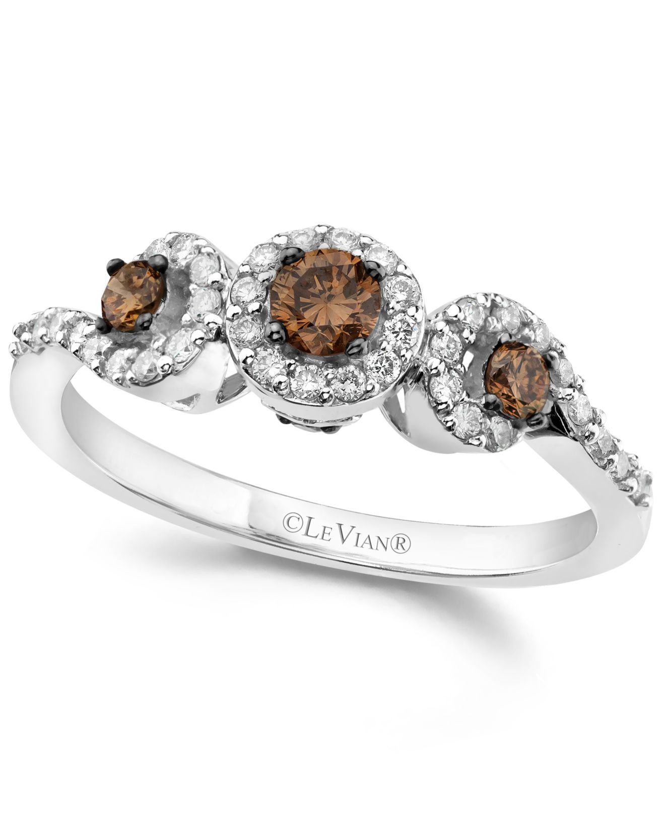Le vian White And Chocolate Diamond 3 stone Ring 1 2 Ct T w In