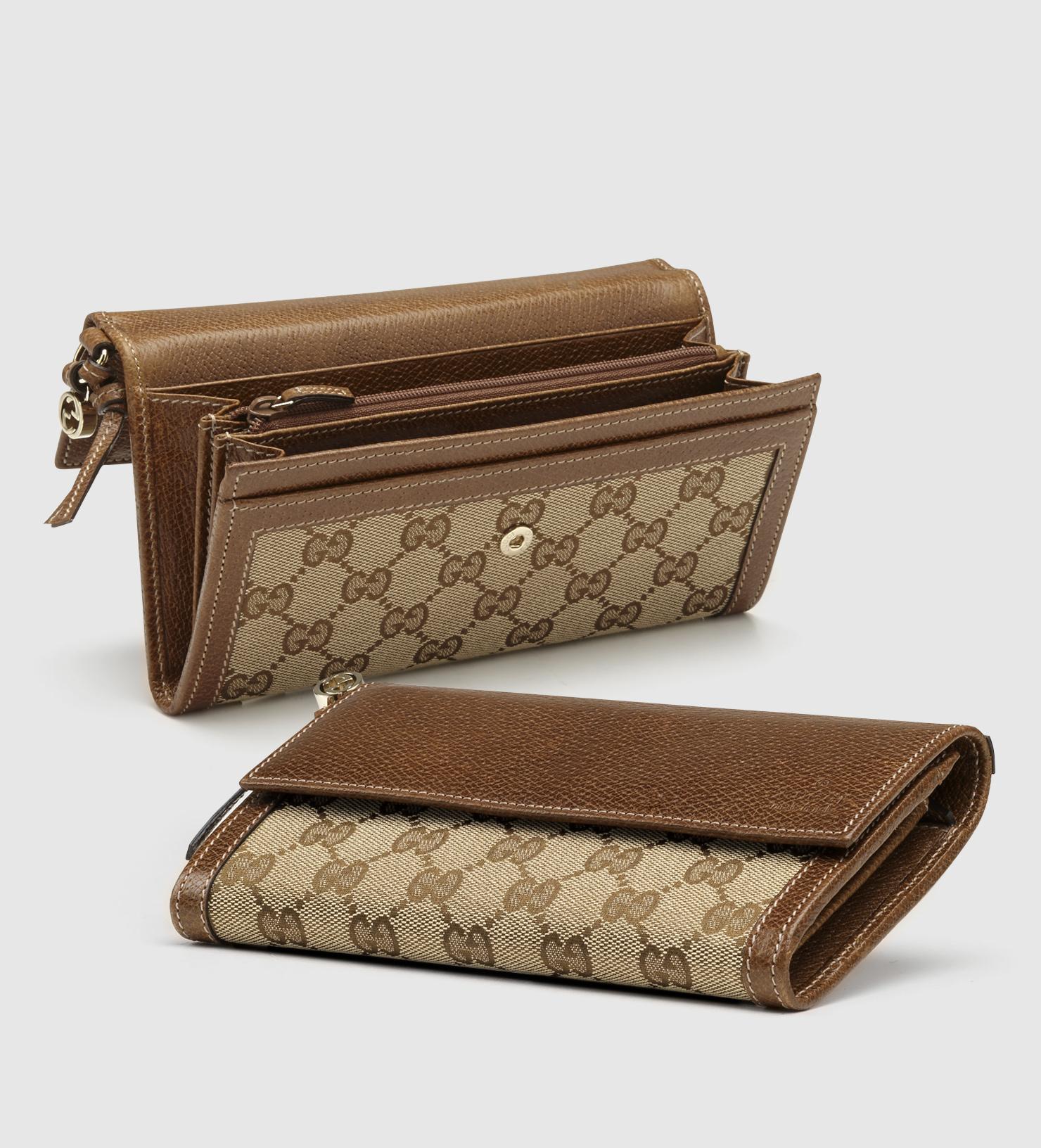 ca48343ee15 Lyst Gucci Bree Original Gg Canvas Continental Wallet In Brown
