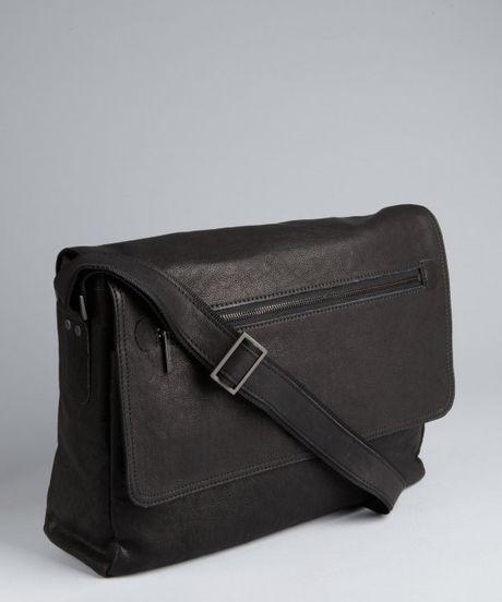 Kenneth Cole Black Leather Front Flap Messenger Bag In