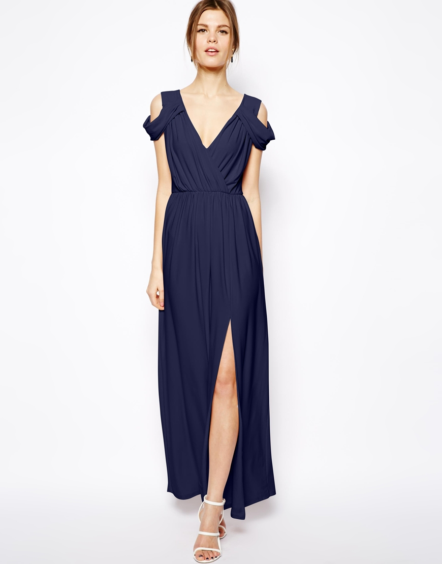 Asos Wrap Front Maxi Dress in Blue | Lyst