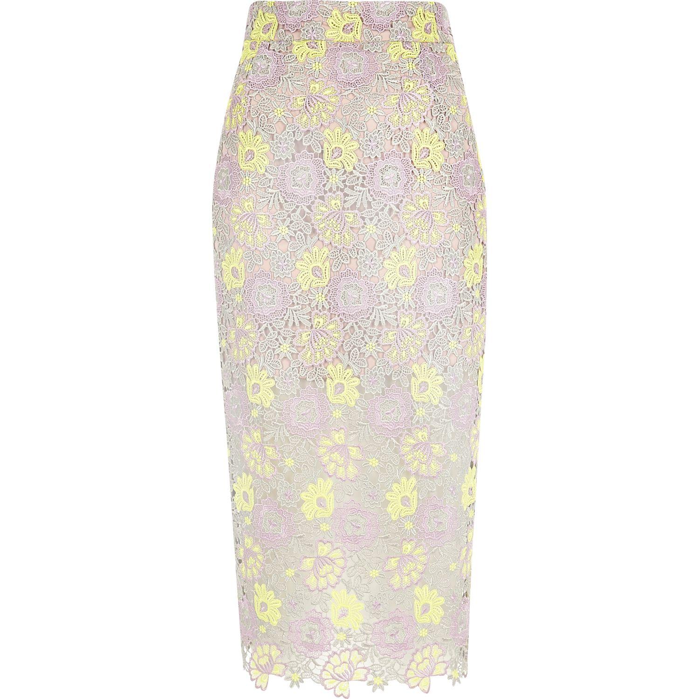 river island purple yellow lace pencil skirt in purple lyst