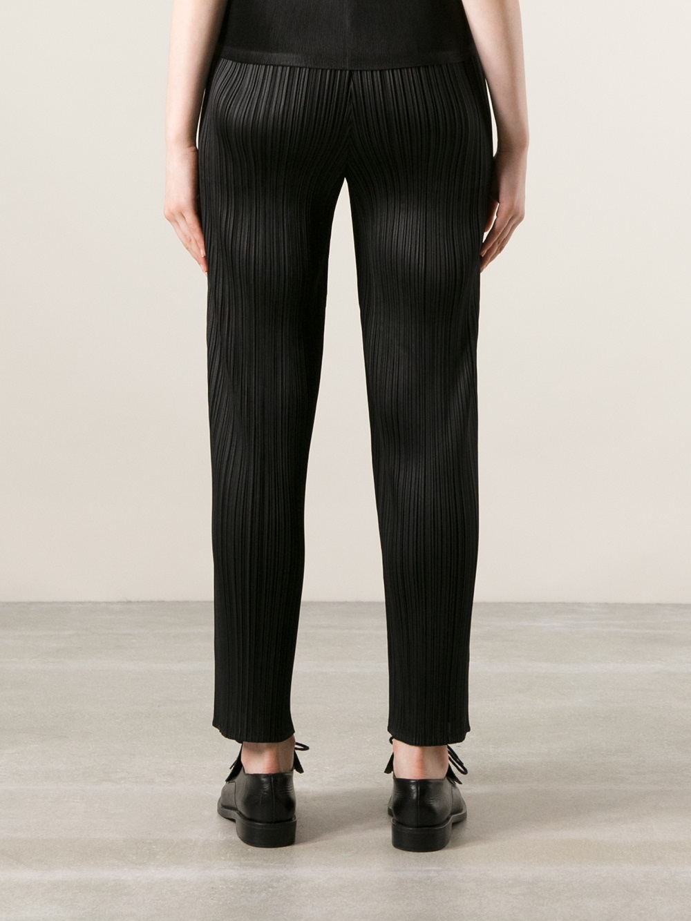 Pleats Please Issey Miyake Highwaisted Trousers In Black