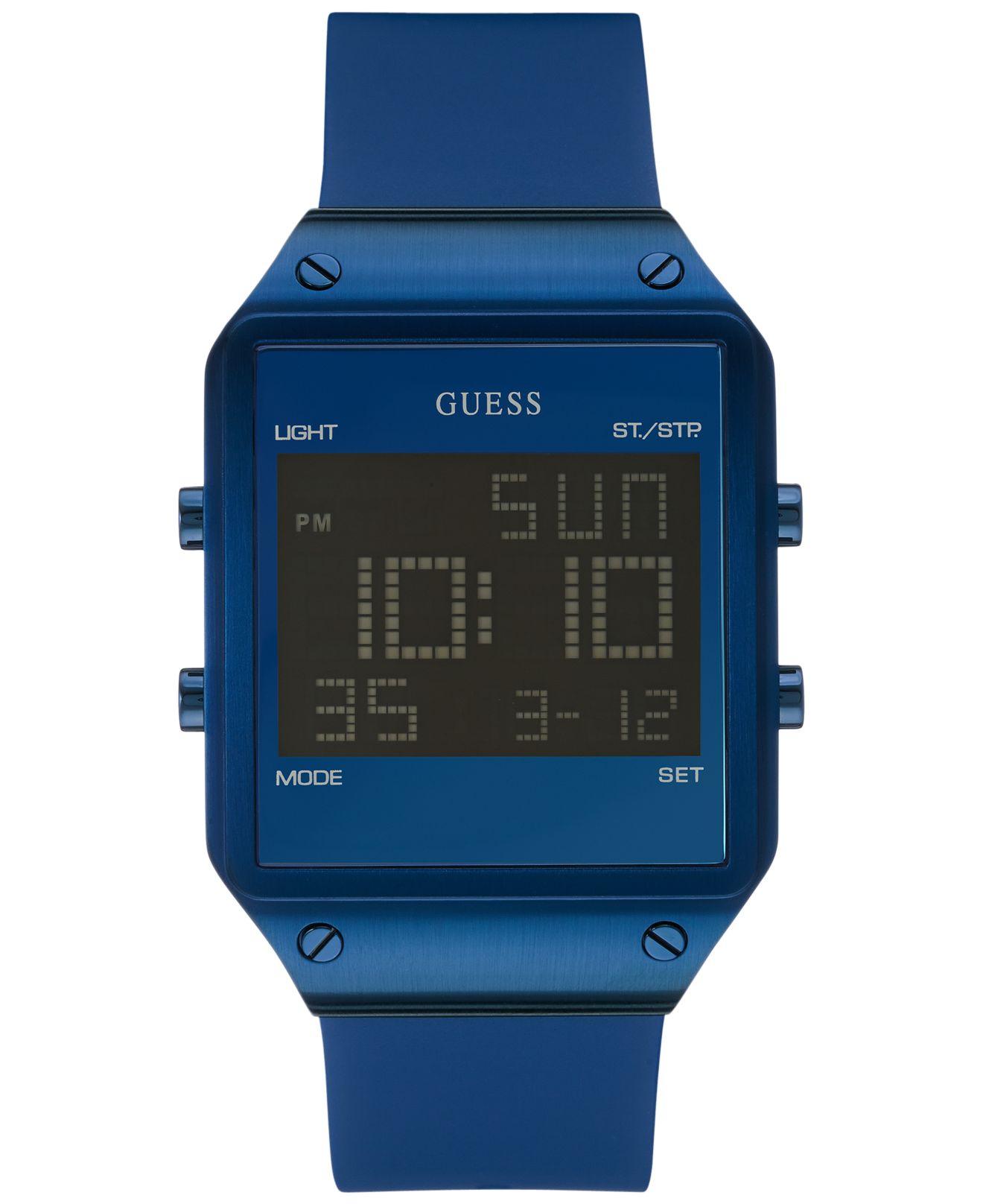 guess s digital blue silicone 55mm u0595g2