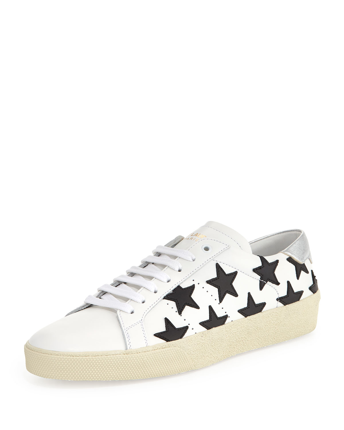 saint laurent leather sneakers in white lyst. Black Bedroom Furniture Sets. Home Design Ideas