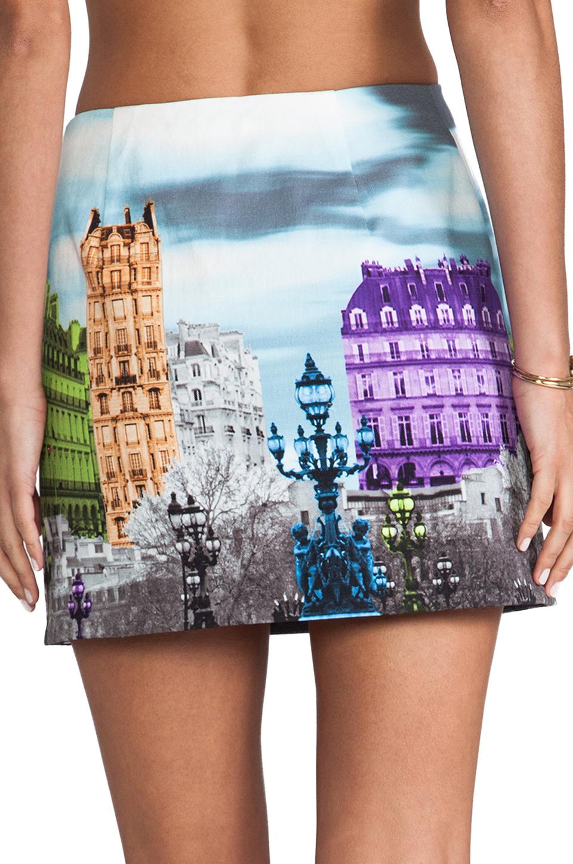 Tibi eiffel tower printed skirt in blue lyst