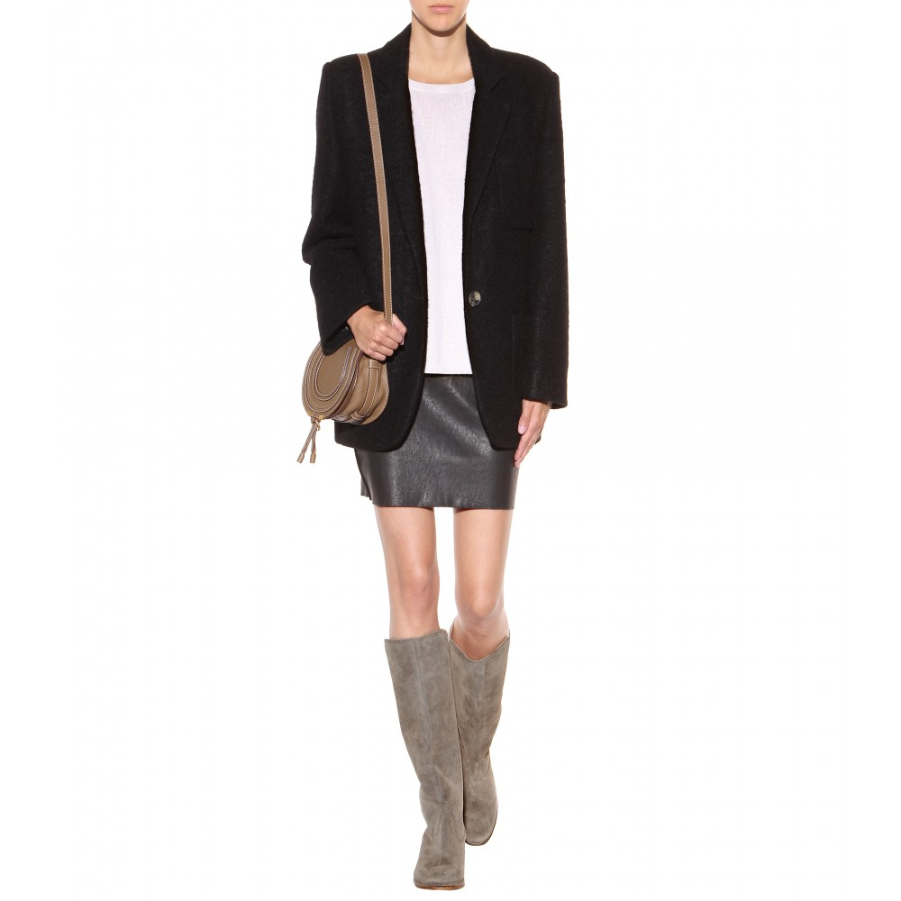 Isabel Marant Cleave Concealed Wedge Suede Boots in Brown