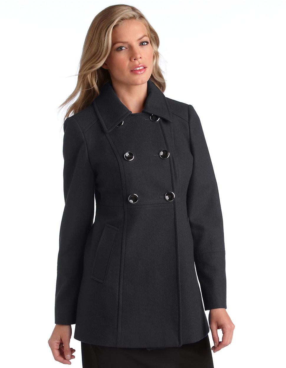 Michael michael kors Babydoll Wool Coat in Gray | Lyst