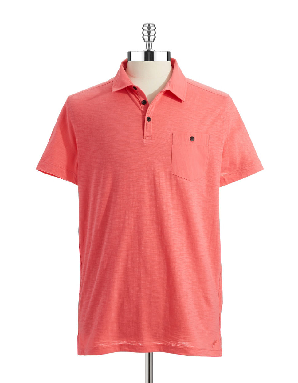 Kenneth cole pocket polo shirt in orange for men melon for Two pocket polo shirt