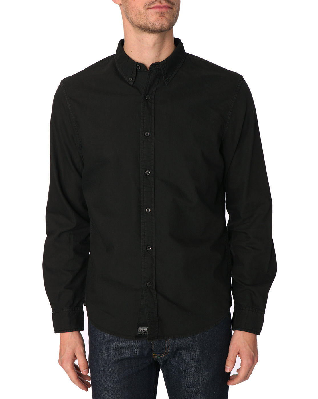Denim supply ralph lauren button down black oxford shirt for Black oxford button down shirt