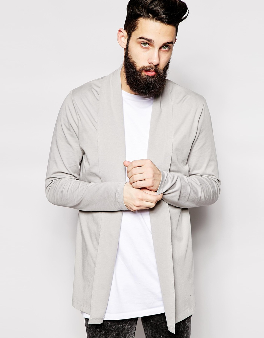 Asos Longline Cardigan With Shawl Neck In Jersey in Gray for Men ...