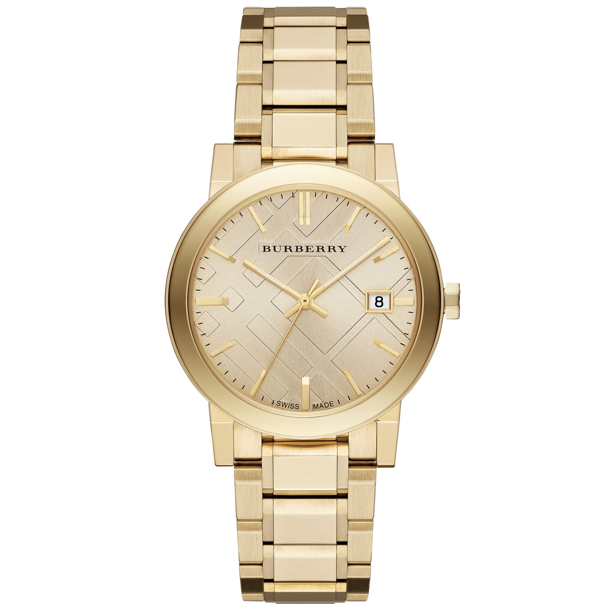 Burberry unisex swiss the city goldtone stainless steel bracelet watch 38mm in gold for men lyst for Burberry watches