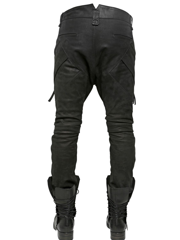 Alexandre Plokhov Grained Nubuck Biker Trousers in Black for Men