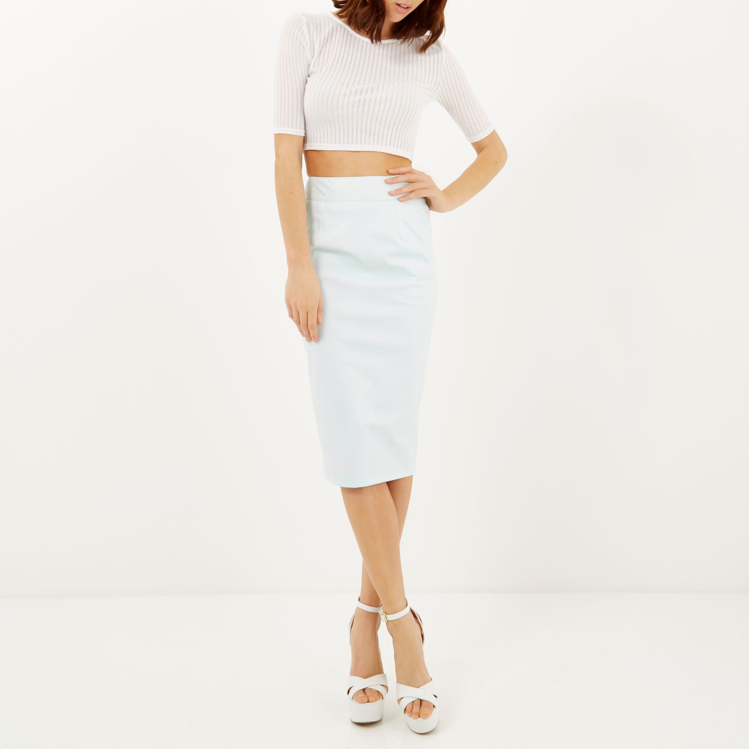 river island mint leather look pencil skirt in blue mint