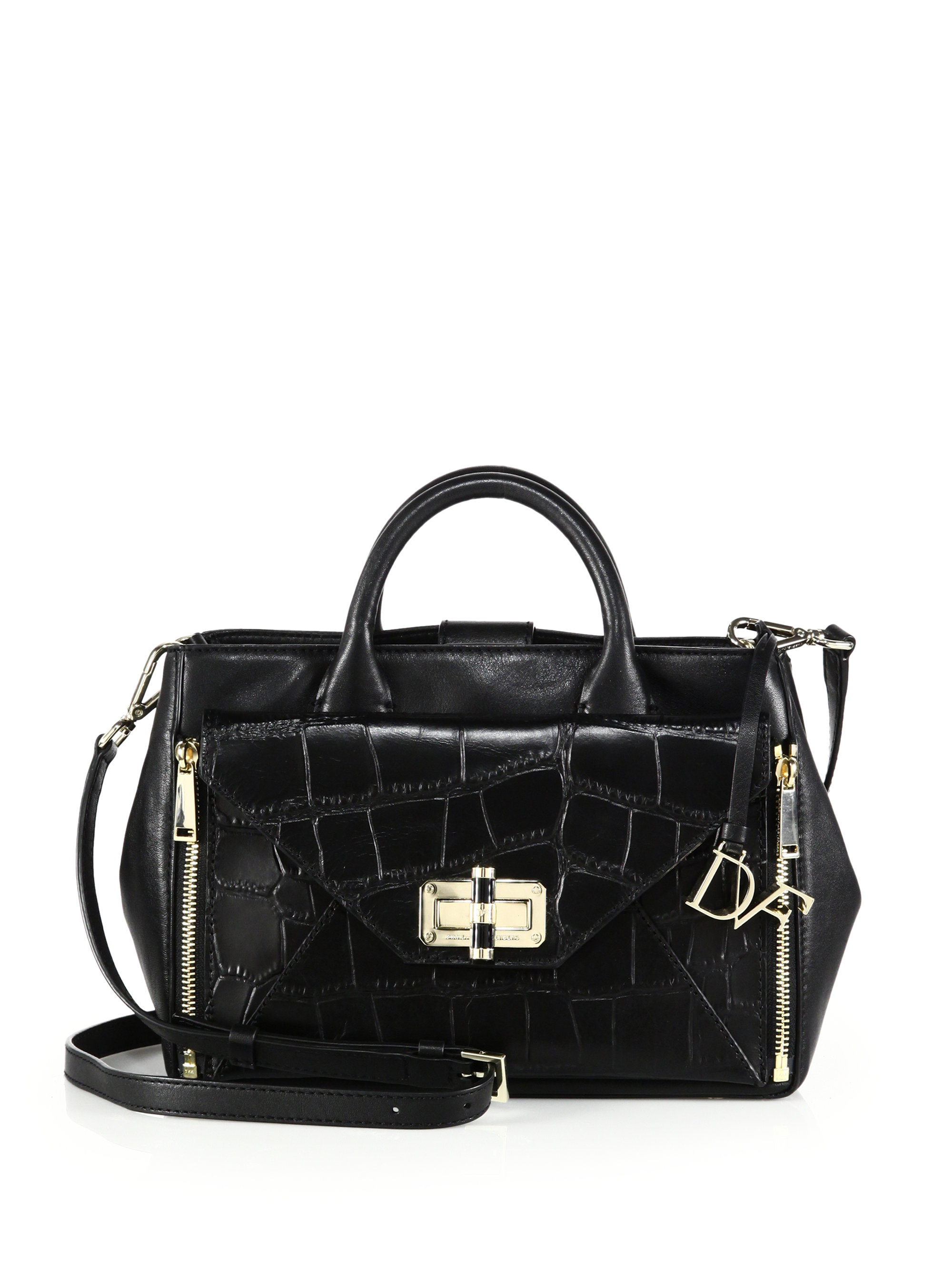 f5e45e5aa4 Lyst Diane Von Furstenberg Secret Agent Croc Embossed Leather Bag