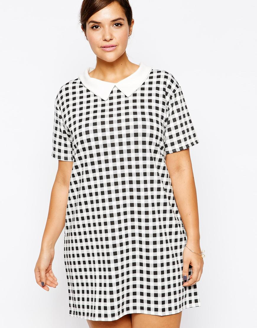 AX Paris Black Plus Size Shift Dress With Collar In Gingham Check
