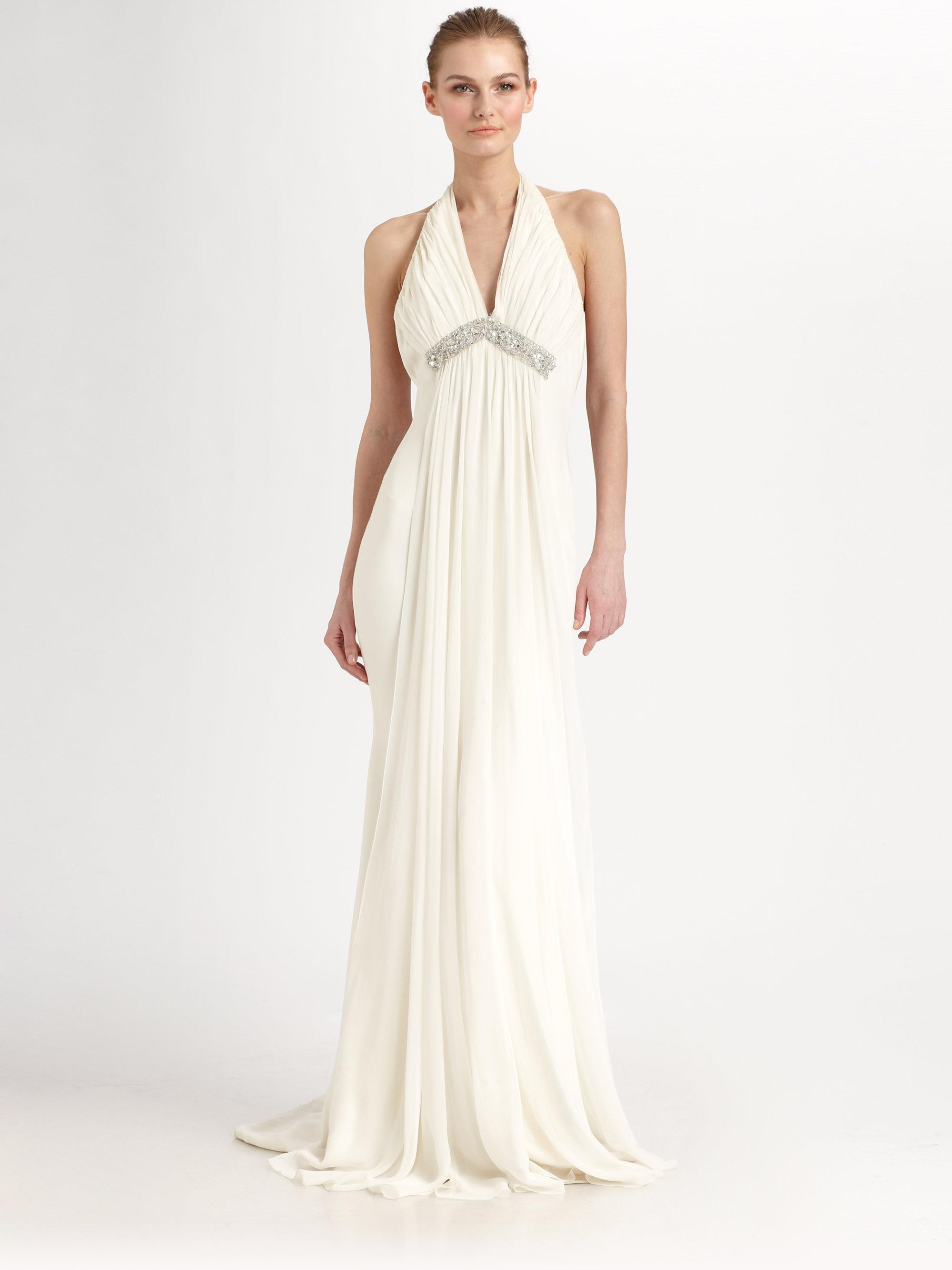 Notte by marchesa Silk Halter Gown in White - Lyst