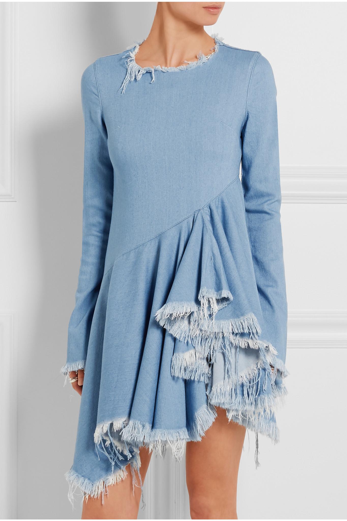 Lyst Marques Almeida Frayed Denim Dress In Blue