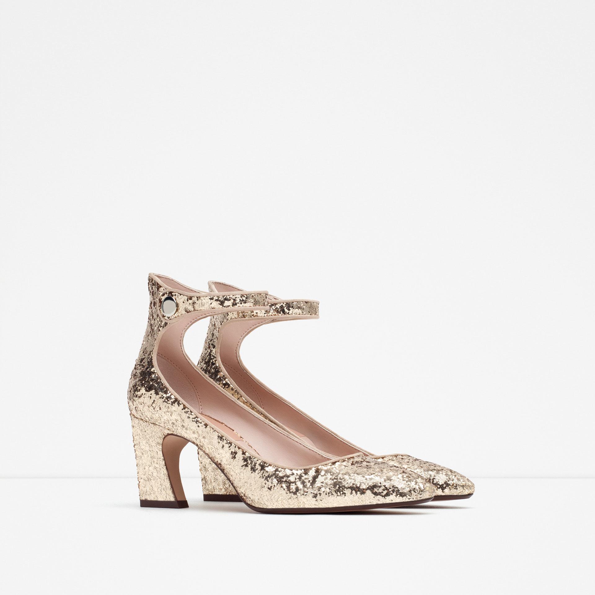 zara glitter high heel shoes in metallic lyst