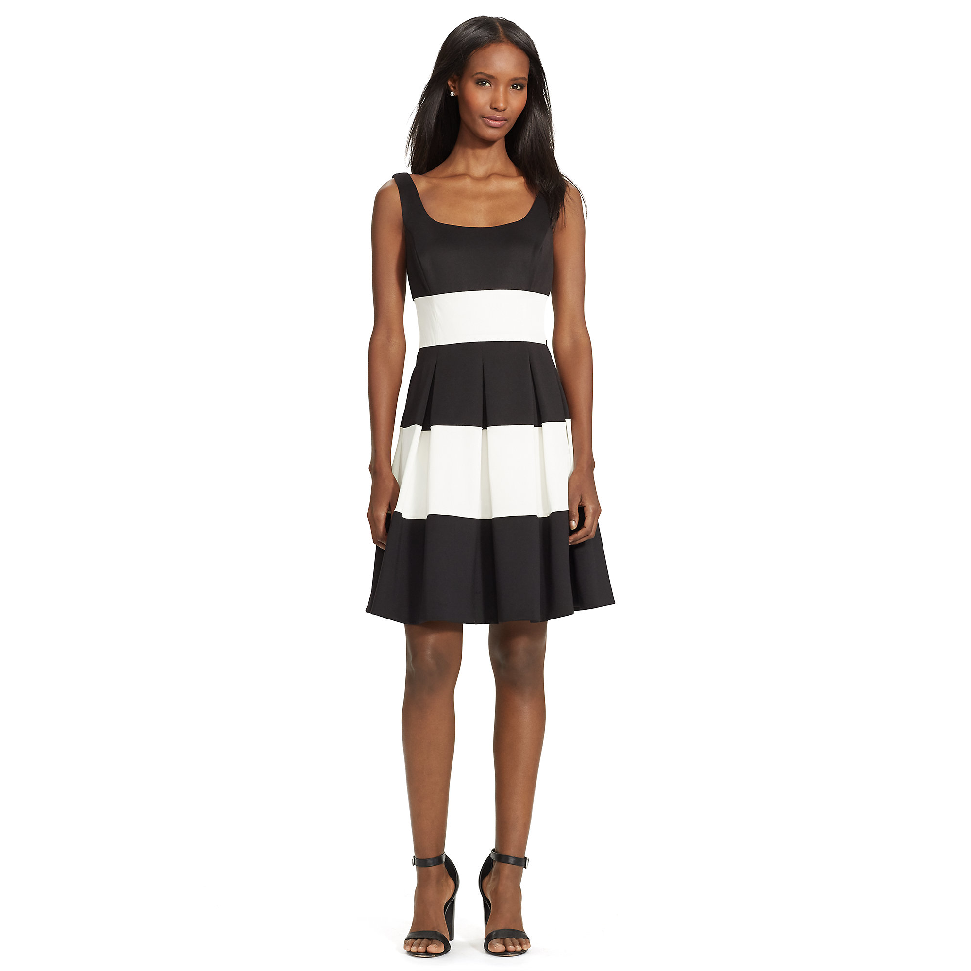 Lyst Pink Pony Striped Fit And Flare Dress In Black