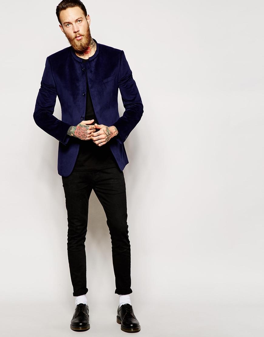 Lyst Asos Slim Fit Blazer In Velvet With Mandarin Collar