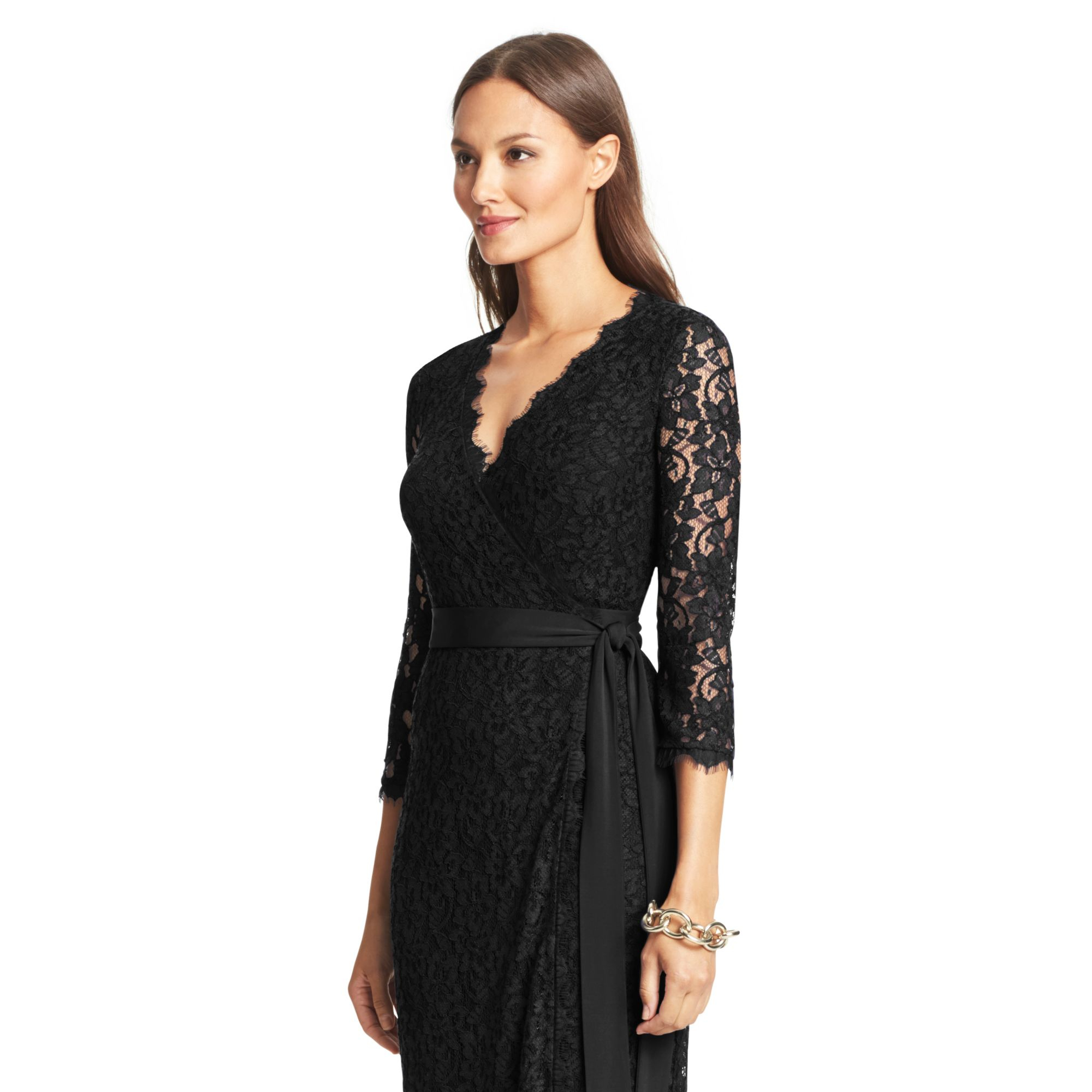 diane von furstenberg dvf julianna lace long wrap dress in. Black Bedroom Furniture Sets. Home Design Ideas
