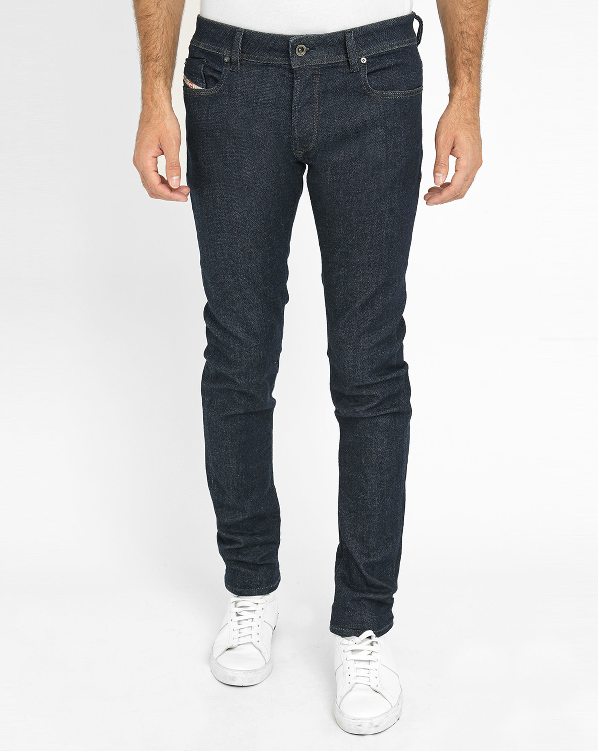 diesel dark denim sleenker raw skinny jeans in blue for