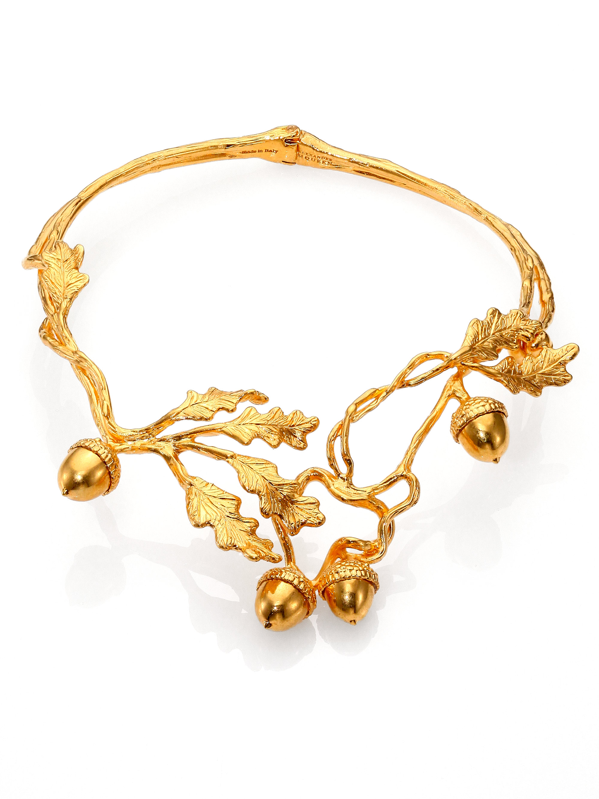 Alexander Mcqueen Leaves Acorn Choker Necklace In Gold For