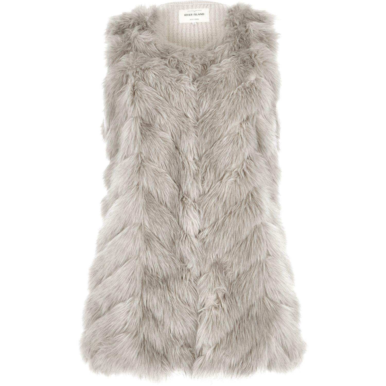 River Island Light Grey Knit Back Faux Fur Gilet In Gray Grey Lyst