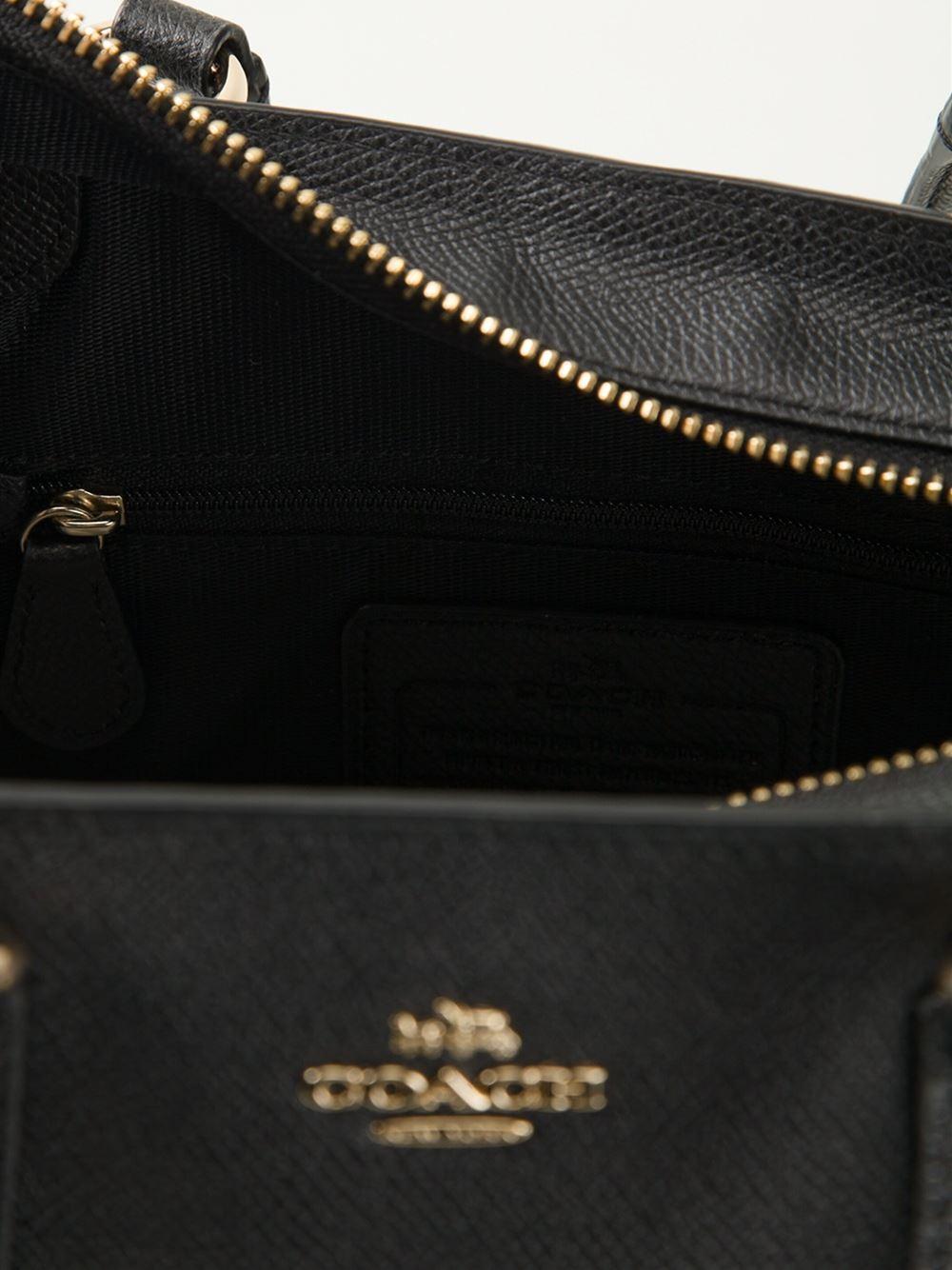 COACH Crosby Mini Leather Tote in Black