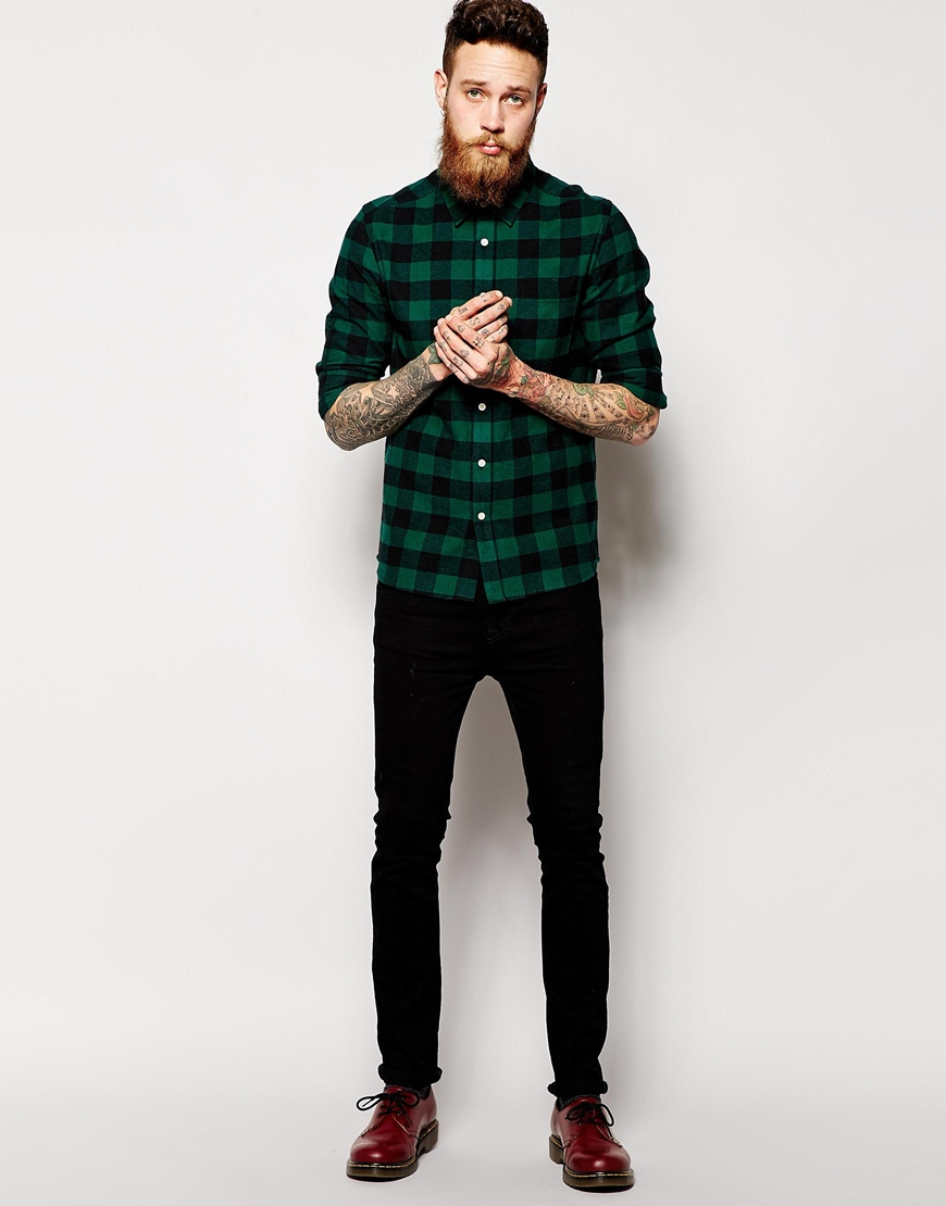 Asos Shirt In Long Sleeve With Brushed Buffalo Check In