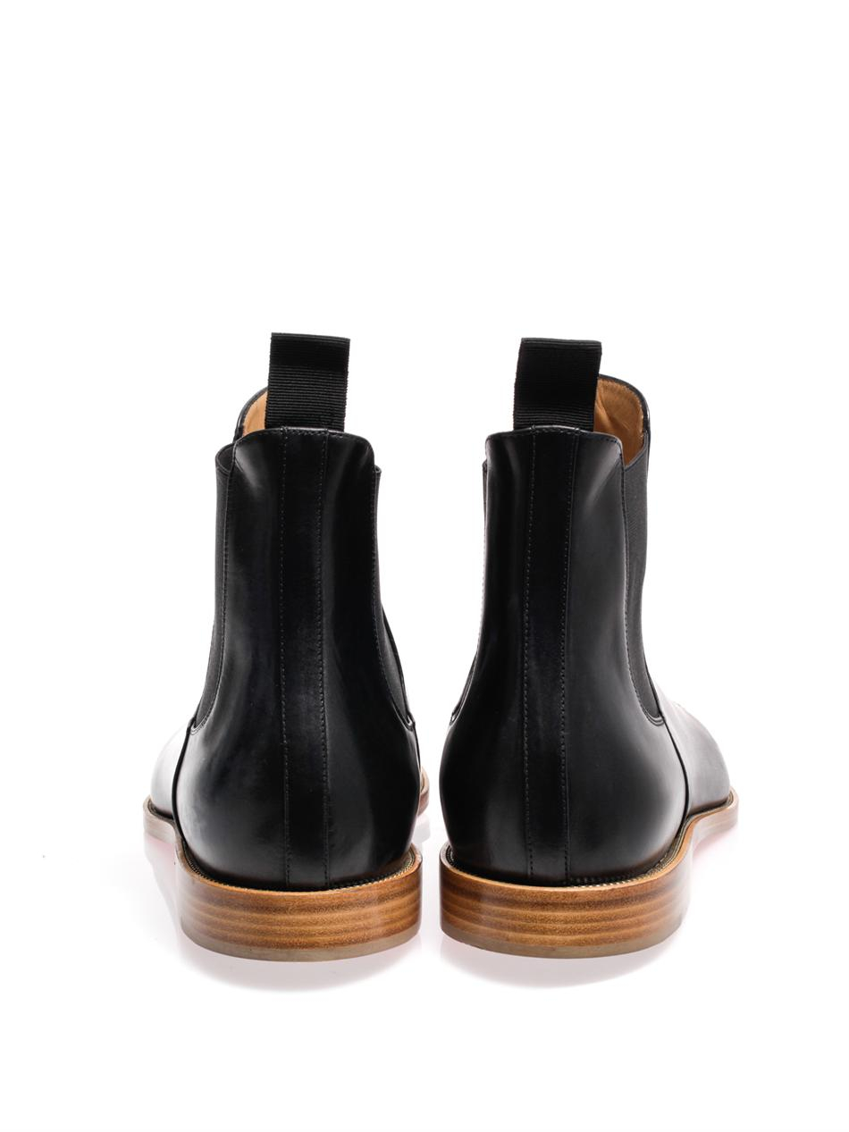 red bottom dress shoes for men - Christian louboutin Jesse Metal Toe Leather Chelsea Boots in Black ...