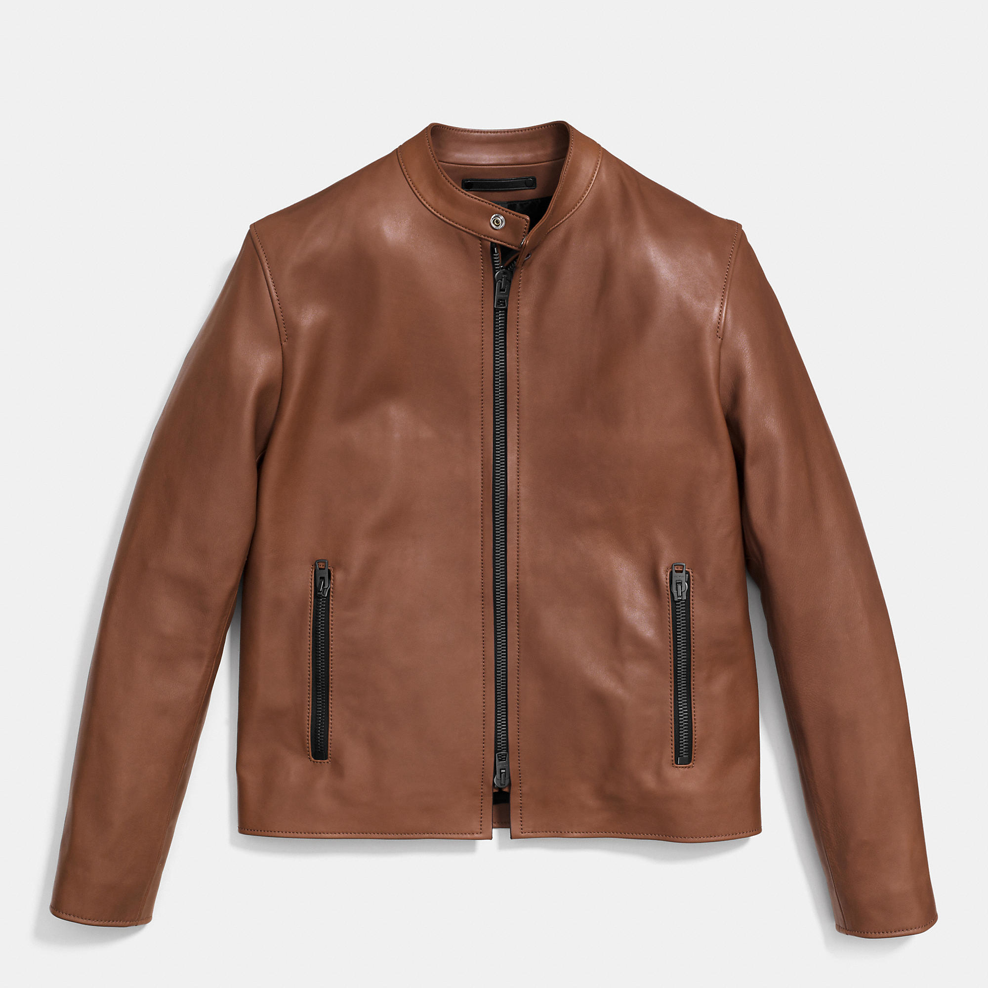 Coach Leather Racer Jacket In Brown For Men Lyst