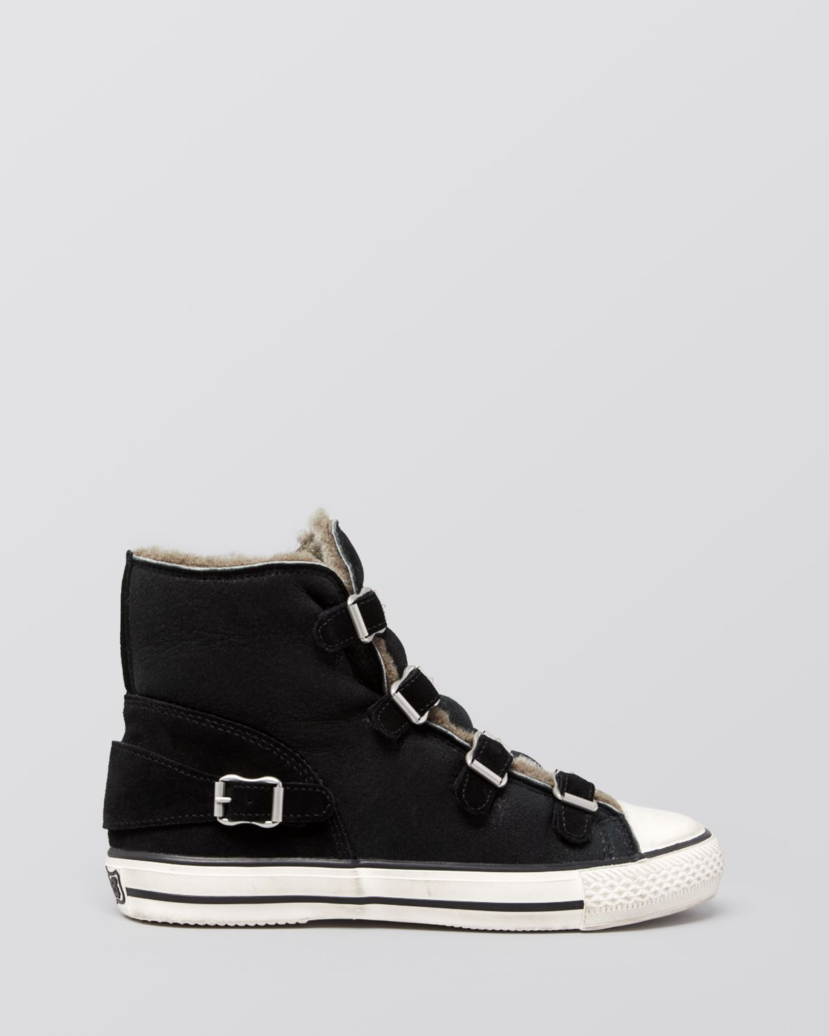 ash high top sneakers virginy shearling in black lyst. Black Bedroom Furniture Sets. Home Design Ideas