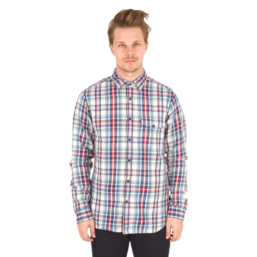 Alex Mill Brushed Twill Plaid Shirt In Blue White Red For