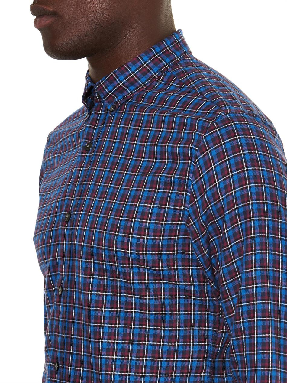 Lyst burberry brit checked cotton shirt in blue for men for Burberry brit checked shirt