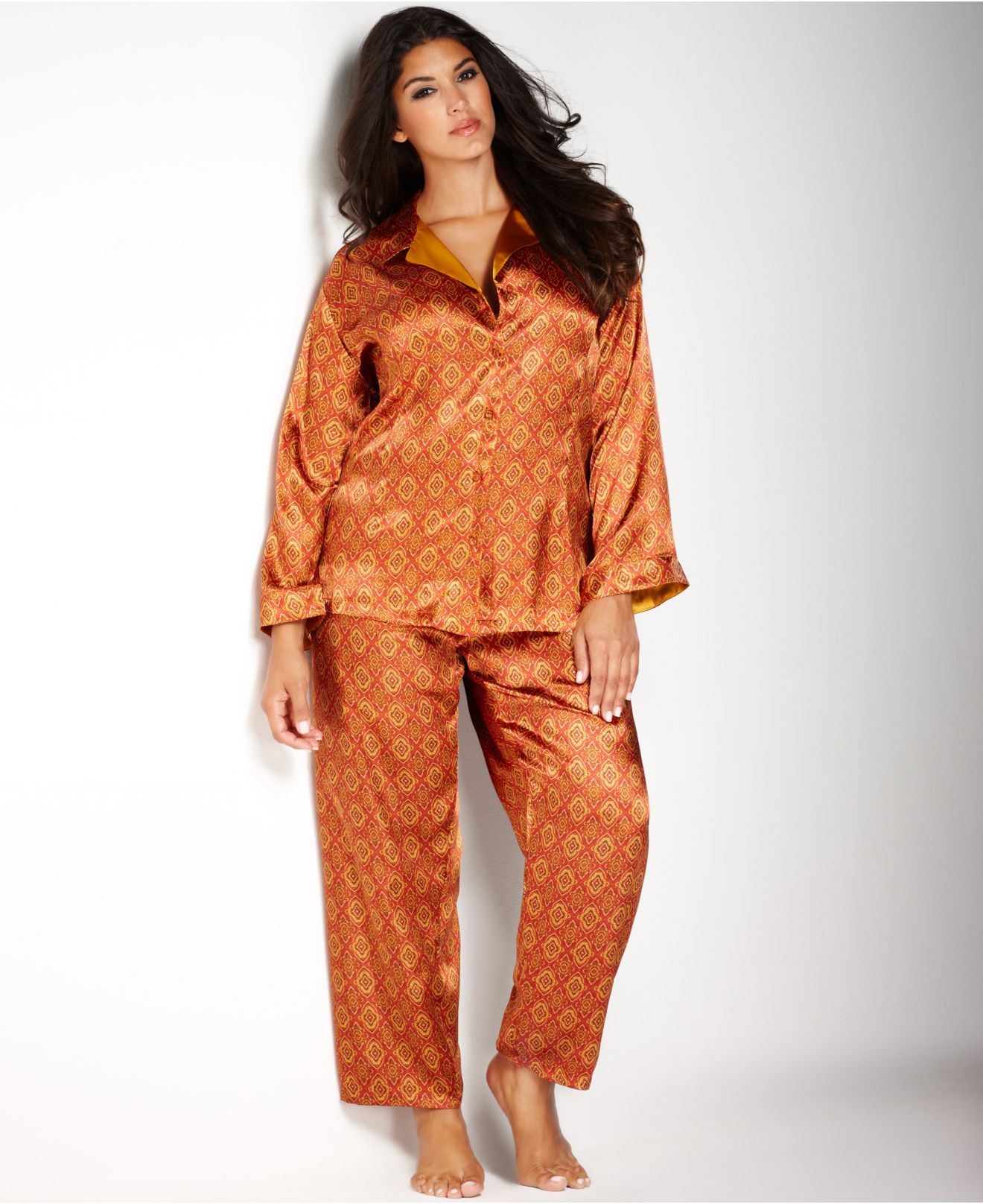 Jones new york Plus Size Printed Satin Pajama Set in Orange | Lyst