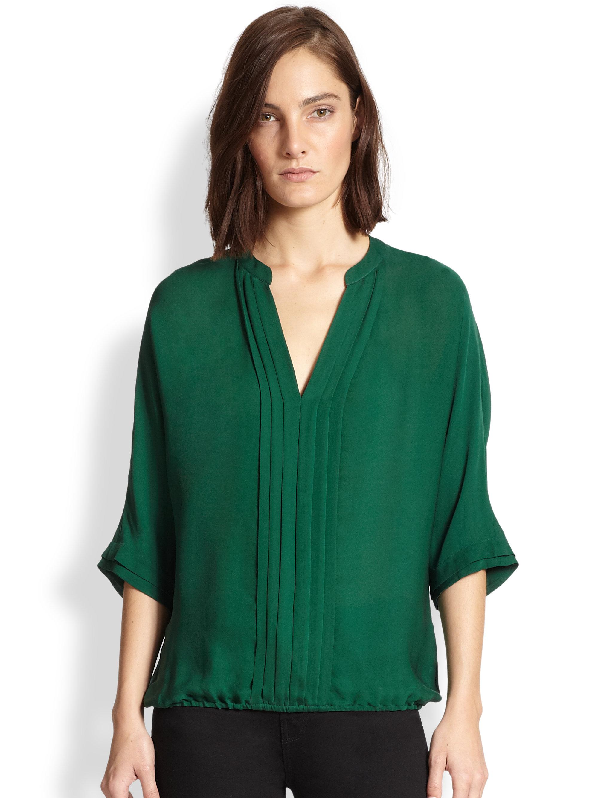 Joie Marru Pintuckpleated Silk Blouse In Green Lyst