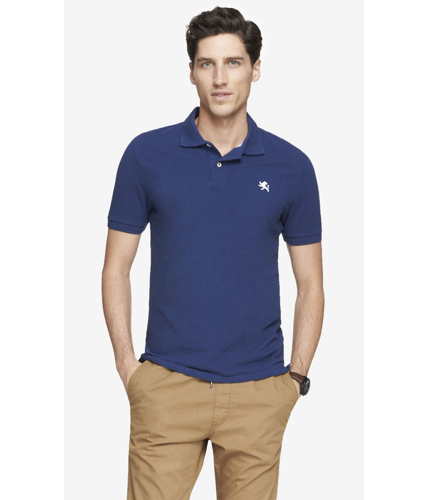 Lyst Express Fitted Small Lion Pique Polo In Blue For Men