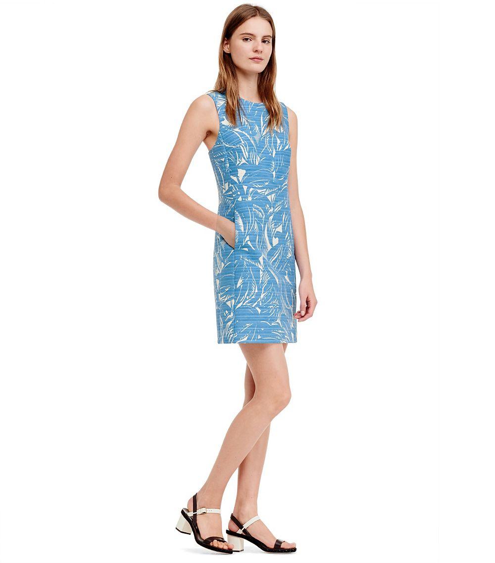 af11bd9397 Lyst - Tory Burch Corded Cotton Linen Crewneck Dress in Blue