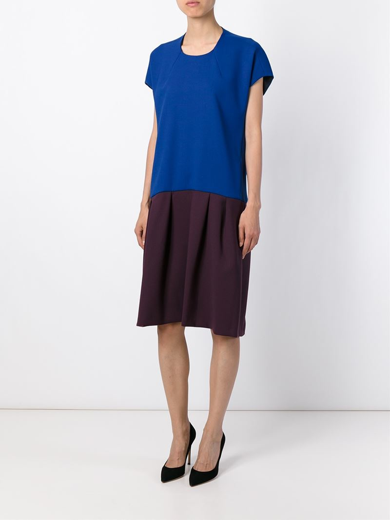 Erika Cavallini Semi Couture Colour Block Pleated Dress In