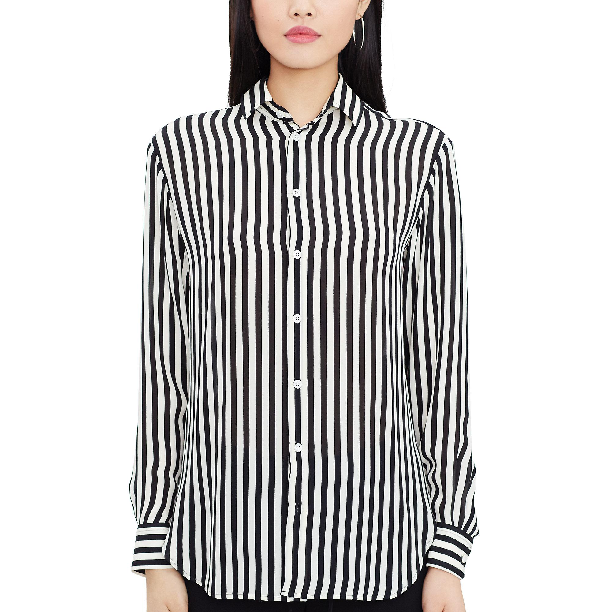 e3bffdf3e8a650 Polo Ralph Lauren Striped Silk Button-down Shirt in Black - Lyst